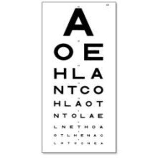 6 metres aoe eye test chart