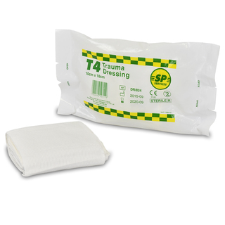 SP T4 Trauma Dressing Pad with Elasticated Bandage - Case of 100